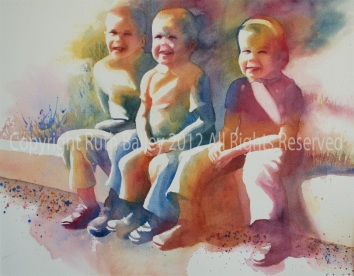 "Sitting on a Curb, Watercolor, 15"" x 19"" I started the year painting this picture of me and my brothers again, this time for my mother. It is now hanging in her bedroom."