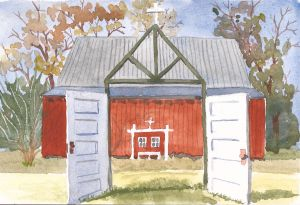 "Barn Wedding Site, watercolor, 5"" x 7"""
