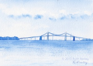 "Bay Bridge at Annapolis, MD (cobalt blue), watercolor, 5"" x 7"""