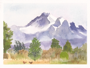 "Mount Baker from Hovander Homestead, watercolor, 5"" x 7"""