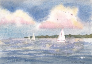 "Sails at Sunset, watercolor, 4.5"" x 6.5"""