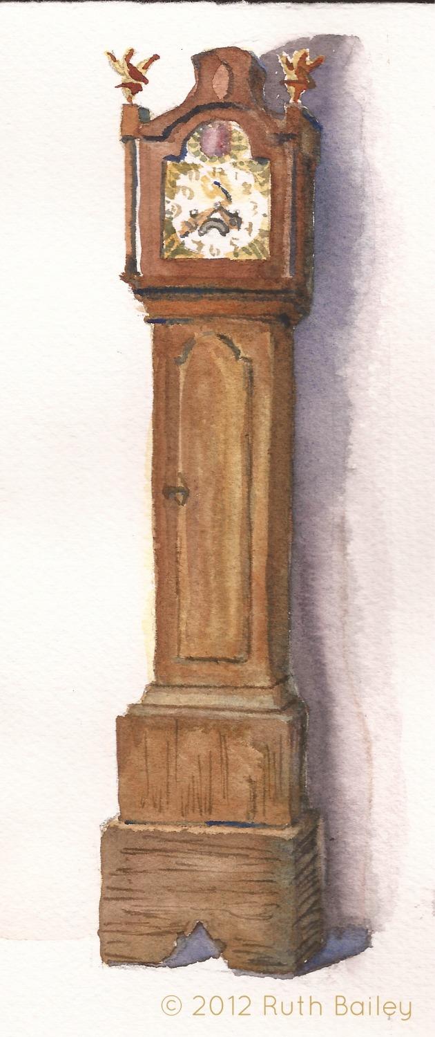wood grandfather clock