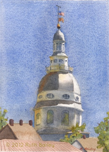 "Maryland Capital Dome, watercolor, 7"" x 5"" August found me in Annapolis, sketching the dome of the capital as it rises above the shops."