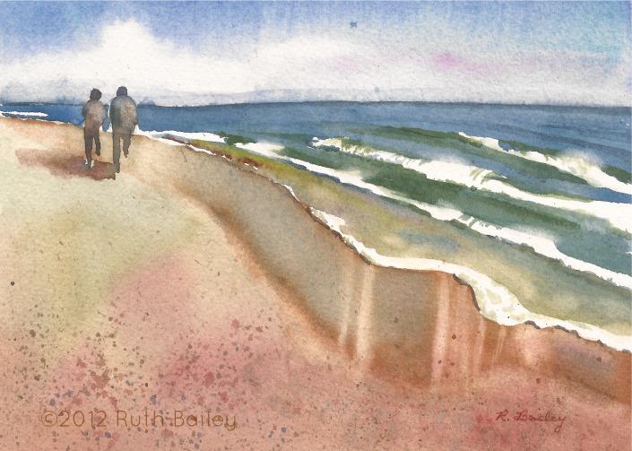 "Beach Days, watercolor, 5"" x 7"""