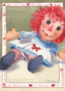 "Old Fashioned Doll, watercolor, 7"" x 5"""