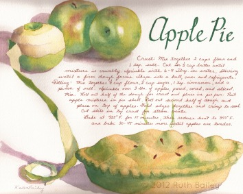 "Apple Pie, watercolor, 8.5"" x 10.5"" Thanksgiving dinner in November seems to call for several types of pies, one of which is usually apple."