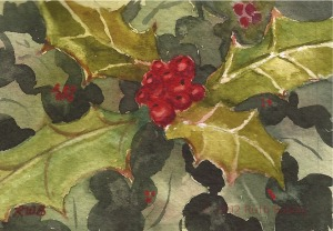 "Holly (miniature), watercolor, 2.25"" x 3.25"""