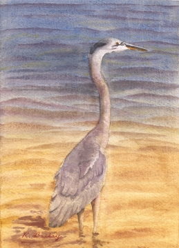 "Standing Heron, watercolor, 7"" x 5"""