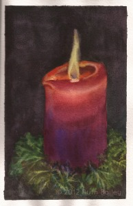 "A Light in the Darkness, watercolor, 8"" x 5"""