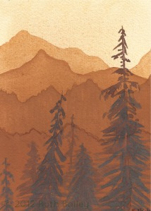 """Mountains and Trees (I), watercolor, 7"""" x 5"""""""