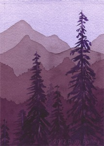 "Mountains and Trees (II), watercolor, 7""x5"""