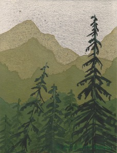 "Mountains and Trees (III), watercolor, 7"" x 5"""