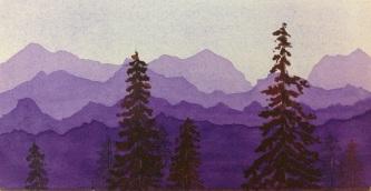 Purple Mountains, watercolor, by Cheri W.