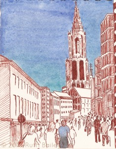 "Church at Ulm, Germany, pen and ink with watercolor, 6.25"" x 5"""