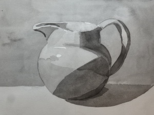 "Pitcher in B&W, watercolor, 9"" x 12"""