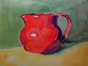 "Pitcher in Color, watercolor, 9"" x 12"""