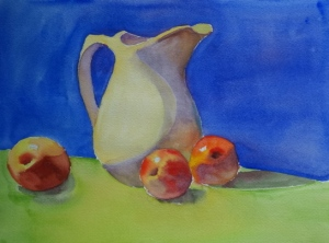 "White pitcher and Apples #2, watercolor 9"" x 12"""