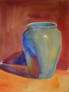 "Blue Vase (#2), watercolor, 12"" x 9"""