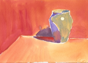 Blue Vase (#1), watercolor, 5