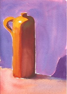 "Earthenware Jug #2, watercolor, 7"" x 5"""