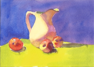 "White Pitcher and Apples (#1), watercolor 5"" x 7"""