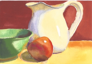 "Pitcher, Bowl and Apple, watercolor, 5"" x 7"""