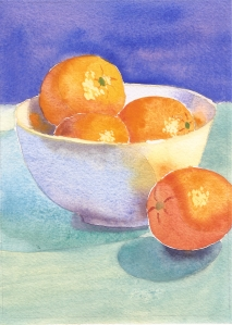 Oranges in a Bowl #2,  watercolor, 7
