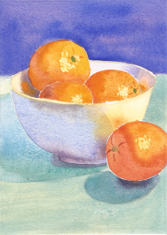 "Oranges in a Bowl #2, watercolor, 7"" x 5"""