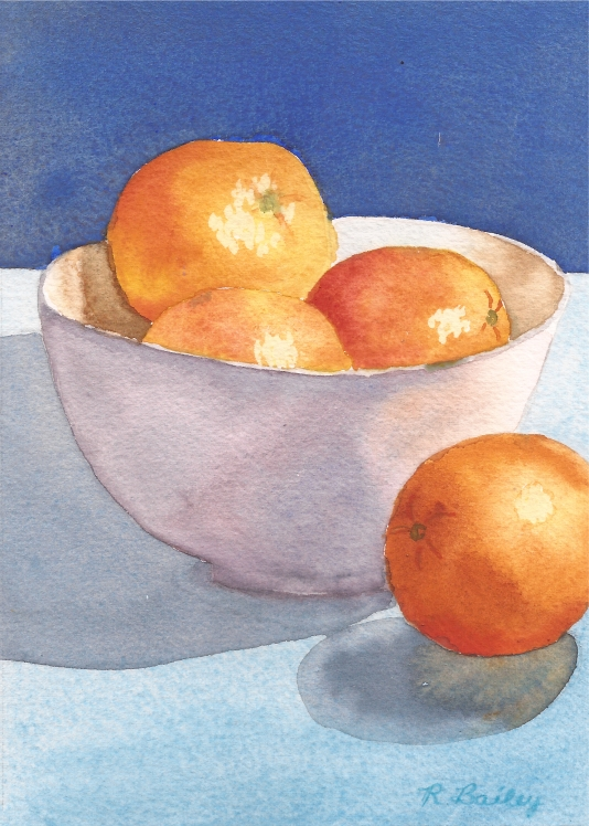 "Oranges in a Bowl #1, watercolor, 7"" x 5"""
