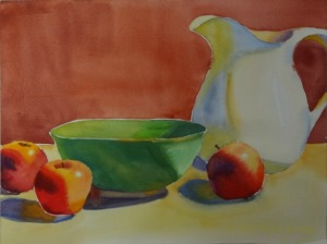"Pitcher, Bowl, and Apples, watercolor, 9"" x 12"""