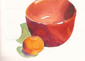 "Red Bowl and Clementine(s), watercolor, 5"" x 7"""