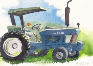 "Tractor, watercolor, 5"" x 7"""