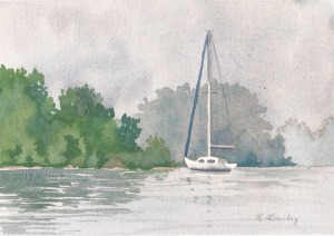 "Misty Anchorage, watercolor, 5"" x &"""