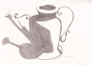 """Watering Can, pencil, 5"""" x 7"""""""