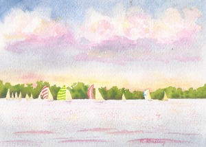 Evening Races, watercolor, 5