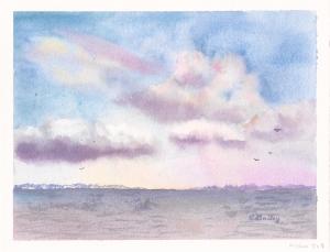 Evening Skies, watercolor, 6