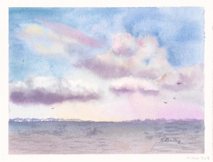 Evening Skies, watercolor, 6
