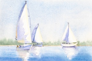 "Ghosting Along, watercolor, 4.5"" x 6.75"""