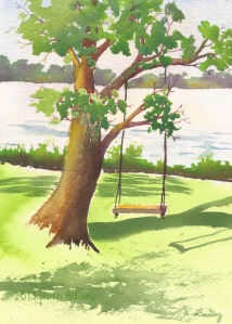 "Nancy's Swing, watercolor, 5"" x 7"""