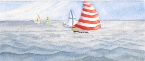"Spinnakers, watercolor, 2.75"" x 6.75:"