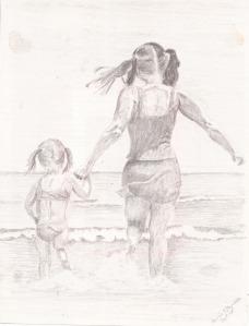 """Annie and Elizabeth, pencil, 11"""" x 8.5"""""""