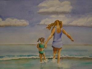 "Annie and Elizabeth (#1), watercolor, 15"" x 22"""