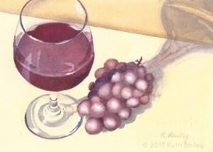 Glass of Wine and Grapes (Horizontal), watercolor, 5