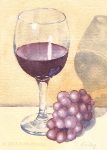 Glass of Wine and Grapes (Veritcal), watercolor, 7