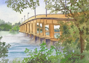 "South River Bridge, watercolor, 5"" x 7"""