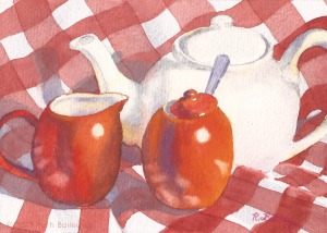 "Tea With Cheri, watercolor, 5"" x 7"""