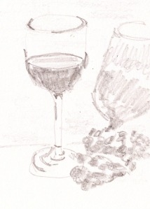 "Value Study for glassware, pencil, 4.25"" x 3"""
