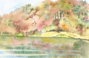 "Autumn Morning on the Rhode River, watercolor, 6.5"" x 10"""