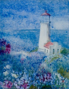 "North Head Lighthouse, watercolor, 23"" x 18"""