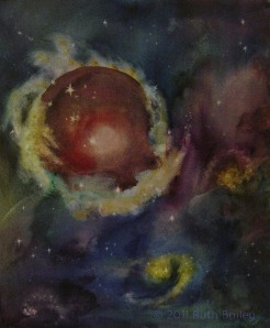 """Music of the Spheres, watercolor on canvas, 24"""" x 20"""""""